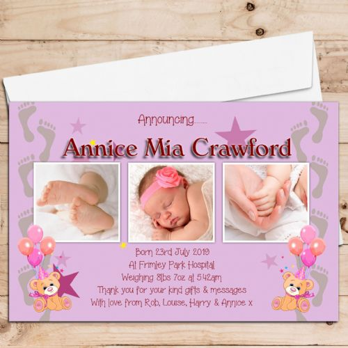 10 Personalised Girl Bear & Balloons Baby Birth Announcement Thank You PHOTO cards N66